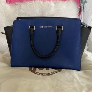 Michael Kors Selma Blue/Black Saffiano Leather